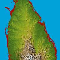 Topographic map of Sri Lanka