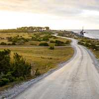 Landscape and road in Öland, Sweden