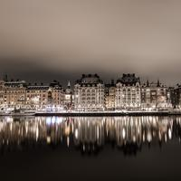 Reflections on the water in Stockholm at night