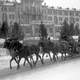 Horses pulling sleigh in the winter in St. Moritz, Switzerland