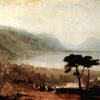 Lake Geneva as seen from Montreux in 1810 in Switzerland