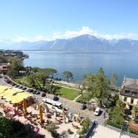 Lake Geneva from Montreux in Switzerland and landscape