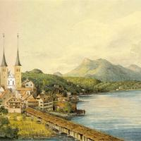Lucerne in 1847 in France with castle and landscape