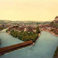 Photochrome of the Aare and Thun Castle from 1900 in Switzerland