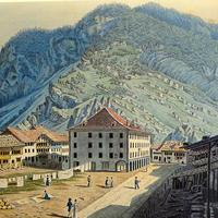 Print of Unterseen in 1819 hills and town