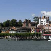 Shoreline Buildings with castle in Nyon, Switzerland