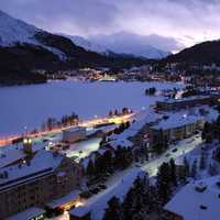 St. Moritz on an evening during the winter in Switzerland