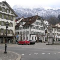 The village square in Stans, Switzerland