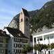 Unterseen town square and village church in Switzerland