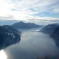 View of Lake Lugano from Monte Brè in Switzerland
