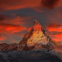 Beautiful Red Sky Matterhorn in Switzerland