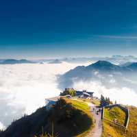 Overlook at the clouds in the Swiss Alps