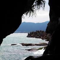 Looking from inside the cave in Taiwan