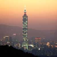 Taipei 101 with lights at dusk in Taiwan