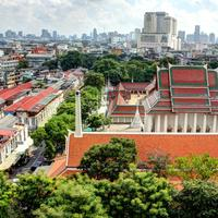 Cityscape in Bangkok with buildings and towers, Thailand