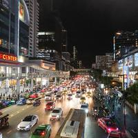 Downtown traffic in the streets  of Bangkok, Thailand