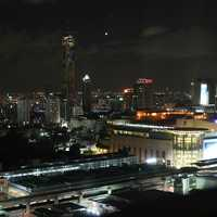 Night view of the Siam Square area in Bangkok, Thailand