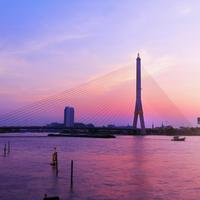 Rama viii bridge cityscape view in Bangkok, Thailand