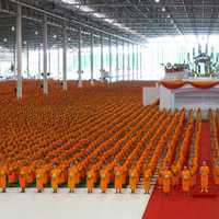 Lines of Monks in Thailand