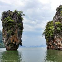 Rock Structure Rising out of the Sea in Thailand