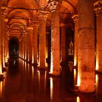 Basilica cistern in the Cathedral in Istanbul, Turkey