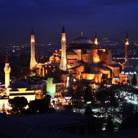 Hagia Sophia Lighted up at Night in Istanbul, Turkey