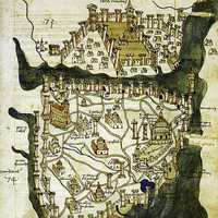 Map of Istanbul, Turkey drawn in 1422.