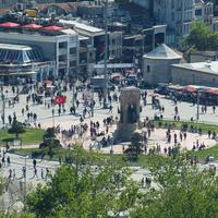 People in the square of Istanbul, Turkey