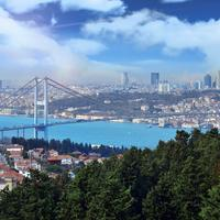 River Flowing through Istanbul, Turkey cityscape