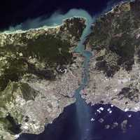 Satellite view of Istanbul and the Bosphorus strait in Turkey