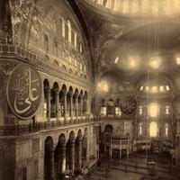 The Hagia Sophia as a Mosque in 1900 in Istanbul, Turkey