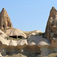 Chimney and houses in Cappadocia, Turkey