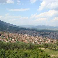 Hilly landscape and town in Kirkagac, Turkey