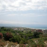 Landscape of the city and ocean in Samandag, Turkey