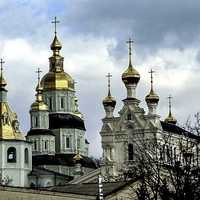 St. Pokrovsky Cathedral with bell tower and Ozeryanskaya church in Kharkiv, Ukraine