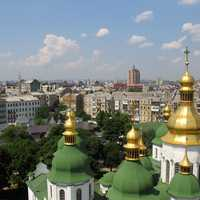 Cityscape view from Bell tower with cathedral in Kiev, Ukraine