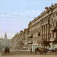 Kiev in the late 19th century streetview in Ukraine