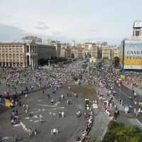 People in the Square in Kiev, Ukraine