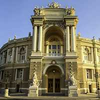 Front view of Odessa opera theater in Ukraine