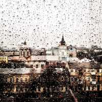 Looking at the cityscape of Odessa through a rainy window in Ukraine