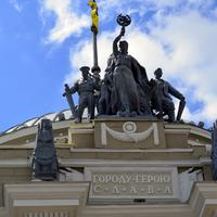Statue on top of Odessa Train Station, Ukraine