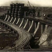 Dnieper Hydroelectric Station under construction in 1930 in Ukraine