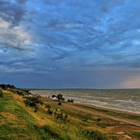 Shoreline landscape at the Sea of Azov in Ukraine