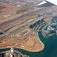 Abu Dhabi from an airplane in United Arab Emirates, UAE