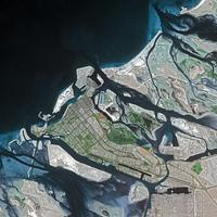 View of Abu Dhabi from International Space Station, United Arab Emirates, UAE