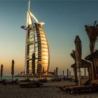 Burj Al Arab Jumeirah at sunset in Dubai, United Arab Emirates, UAE