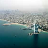 Coastline of Dubai with the Burj Al Arab Jumeirah in front in the United Arab Emirates - UAE