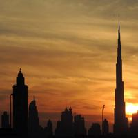 Dubai Skyline Under the Setting Sun in United Arab Emirates, UAE