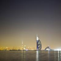 Night lights and skyline in Dubai, United Arab Emirates, UAE