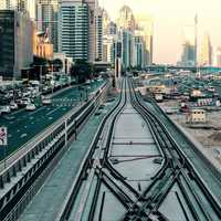Roads, railroad, and buildings in Dubai, United Arab Emirates, UAE